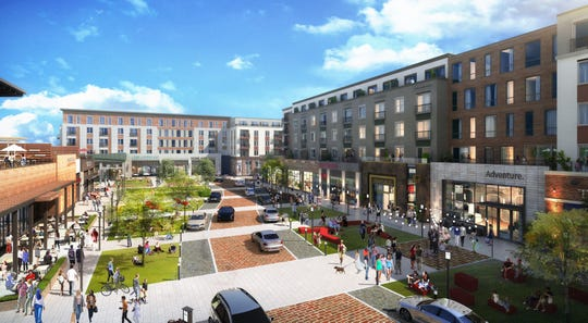 Rendering of the District at 1515, a retail-residential redevelopment proposal to replace two vacant office buildings on Route 10 in Parsippany.