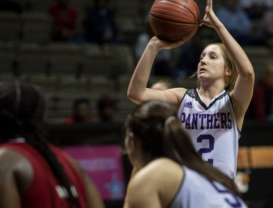 Prattville Christian's Ella Jane Connell (2) makes the lead taking free throws during the Class 3A southwest regional championship at Dunn-Oliver Acadome in Montgomery, Ala., on Wednesday, Feb. 20, 2019. Prattville Christian defeated T.R. Miller 41-35.