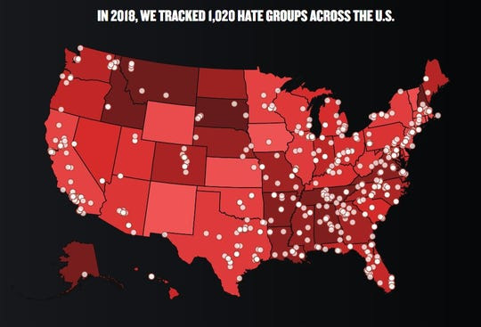 The SPLC identified 1,020 active hate groups in America in 2018, the highest total ever.