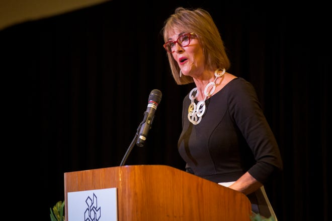 Indiana Lt. Gov. Suzanne Crouch talks to the Muncie-Delaware County Chamber of Commerce on Feb. 20 inside the Horizon Convention Center. Crouch spoke about business efforts across the state including a push for broadband expansion in rural Indiana.