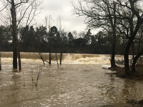 Stormwater caused the Walter Hill Dam north of Murfreesboro to swell Wednesday.