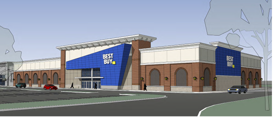 This rendering shows plans for a relocated Best Buy store within The Avenue Murfreesboro shopping center off Medical Center Parkway and Interstate 24.