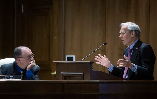 Tennessee State Senator Mike Bell, left, listens as Comptroller Justin P. Wilson discusses his office's report on UT Knoxville's Sex Week during a hearing before the General Assembly's Senate Education Committee, Wednesday, February 20, 2019.