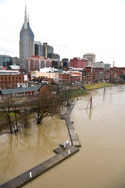 The Cumberland River was at 35.45 at noon on  Wednesday, Feb. 20, 2019, in Nashville, Tenn. Flood stage is 40 feet.