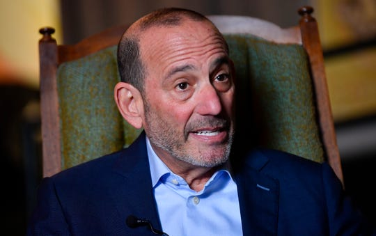 MLS Commissioner Don Garber talks about the Nashville MLS franchise announcement for the team's name and logo at Marathon Music Works Wednesday, Feb. 20, 2019 in Nashville, Tenn.