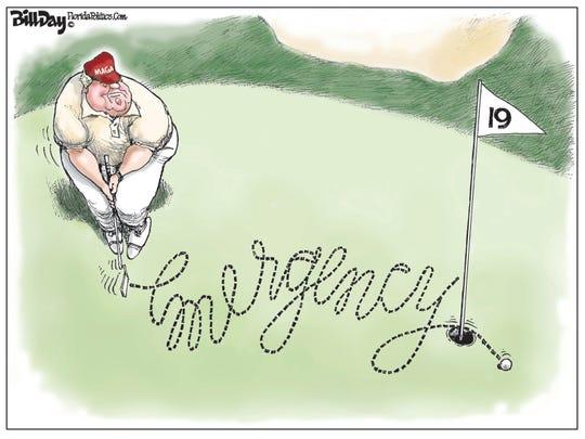 trump golfs after declaring border emergency