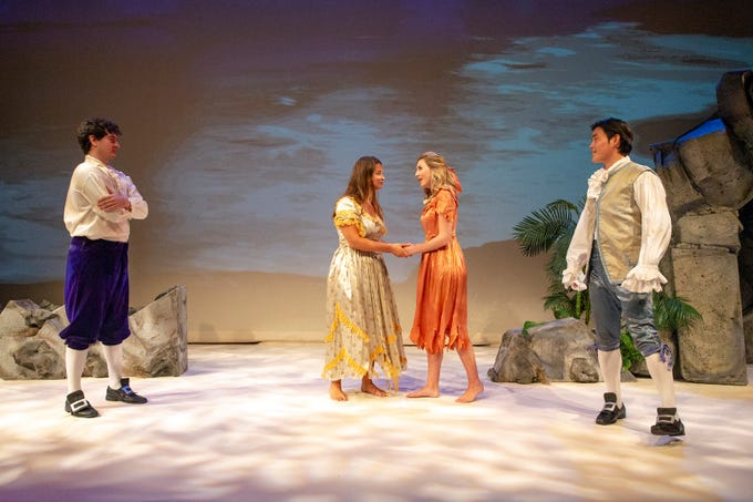 """The cast of Naples' Opera production of """"L'isola disabitata"""", Achilles Leonidas Bezanis, left, Megan Moore Kellie Motter and Sunyeop Hwang rehearse, Wednesday at the Wang Opera Center in East Naples."""