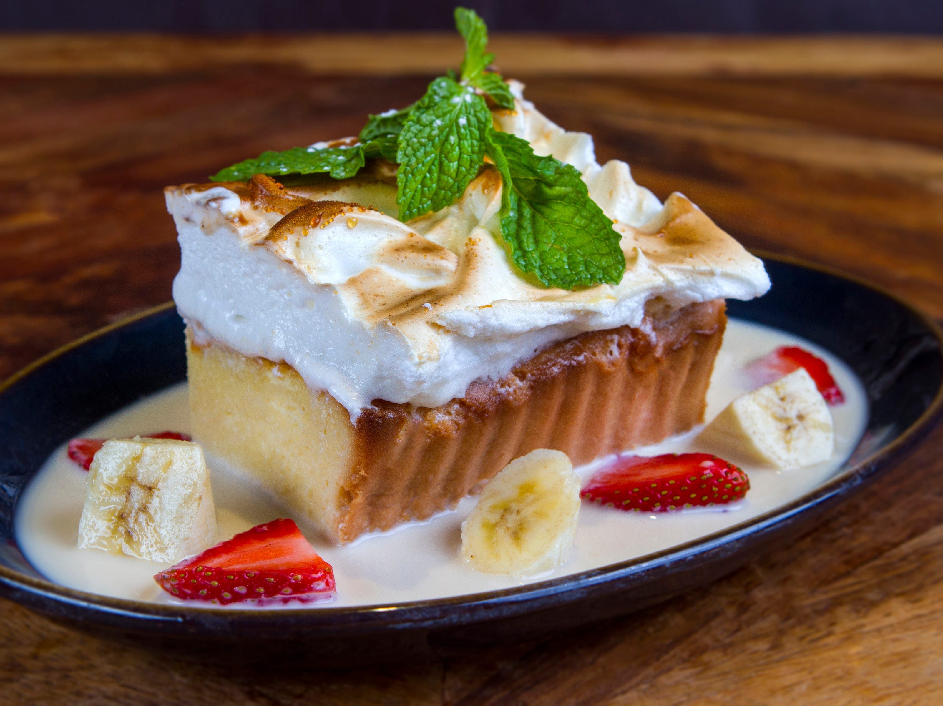 Tres leches cake for dessert at Rocco's Tacos & Tequila Bar.