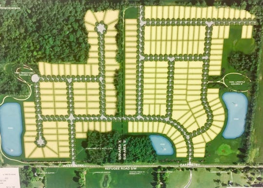 A concept sketch for the recently rejected Hunter's Crossing residential development proposed for Refugee Road, just west of Mink Street. Developers say this sort of density is what makes sense for consumers and developers economically under present market conditions, but many elected officials argue otherwise, wanting more green space and larger lots.