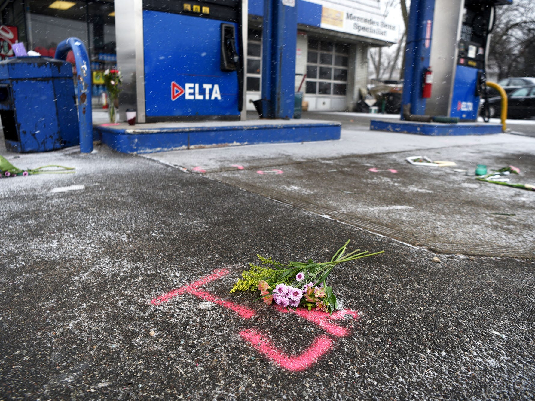 Mourners brought flowers setting up a makeshift memorial at the Delta Station on Rt. 23 in Wayne on Wednesday, February 20, 2019. Jon and Luke Warbeck and Lovedeep Fatra died when a car crashed into the Delta station on Tuesday.