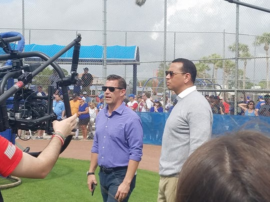 Mets GM Brodie Van Wagenen (l) and Alex Rodriguez (r)