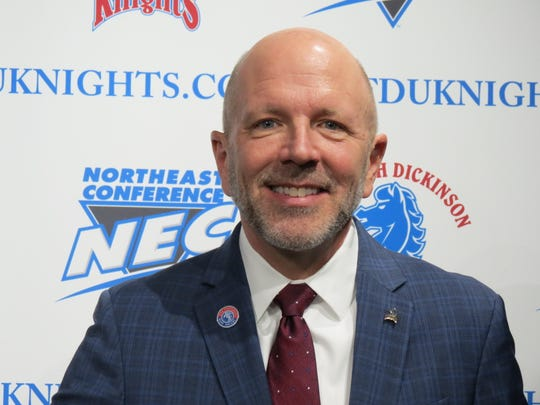 Brad Hurlbut was officially introduced as Fairleigh Dickinson's new Athletic Director at a press conference in the Rothman Center in Hackensack on Wednesday, Feb. 20, 2019.