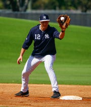 Feb 19, 2019; Tampa, FL, USA; New York Yankees shortstop Troy Tulowitzki catches a throw at second base (12) during spring training at George M. Steinbrenner Field.
