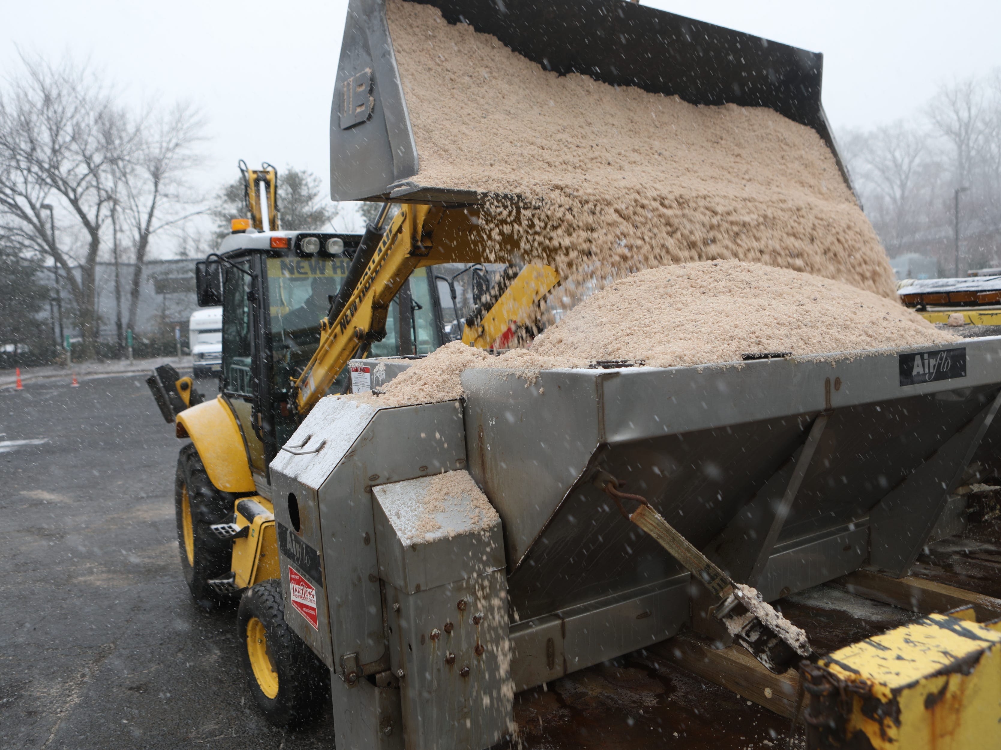 Workers at the Paramus Department of Public Works, get ready to treat the roads, Wednesday, February 20, 2019.