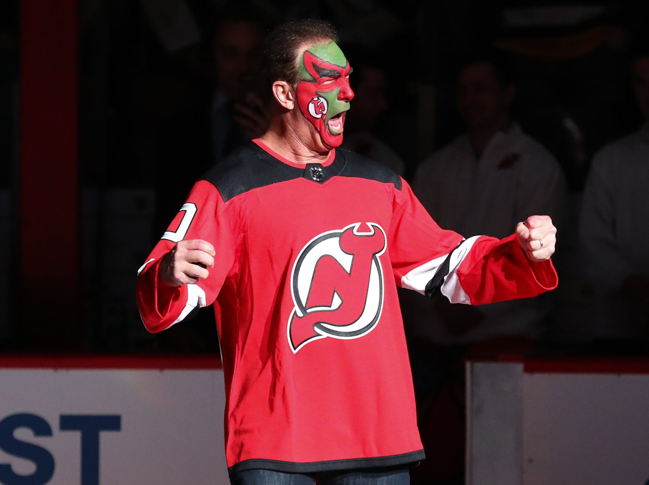 Feb 19, 2019; Newark, NJ, USA; Seinfeld's David Puddy, played by actor Patrick Warburton takes the ice to drop the puck before the start of the NHL game between the New Jersey Devils and the Pittsburgh Penguins at Prudential Center.