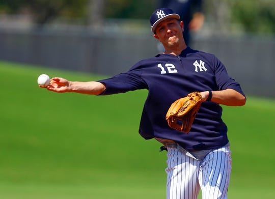Feb 19, 2019; Tampa, FL, USA; New York Yankees shortstop Troy Tulowitzki (12) throws to first base during spring training at George M. Steinbrenner Field.