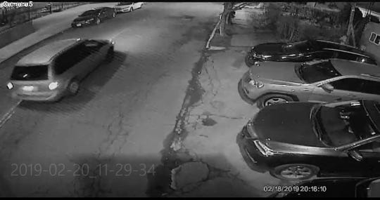 A Chrysler Voyager minivan, seen at left, is believed to be involved in the death of a woman in North Bergen Feb. 18, 2019, though authorities could not specify how.