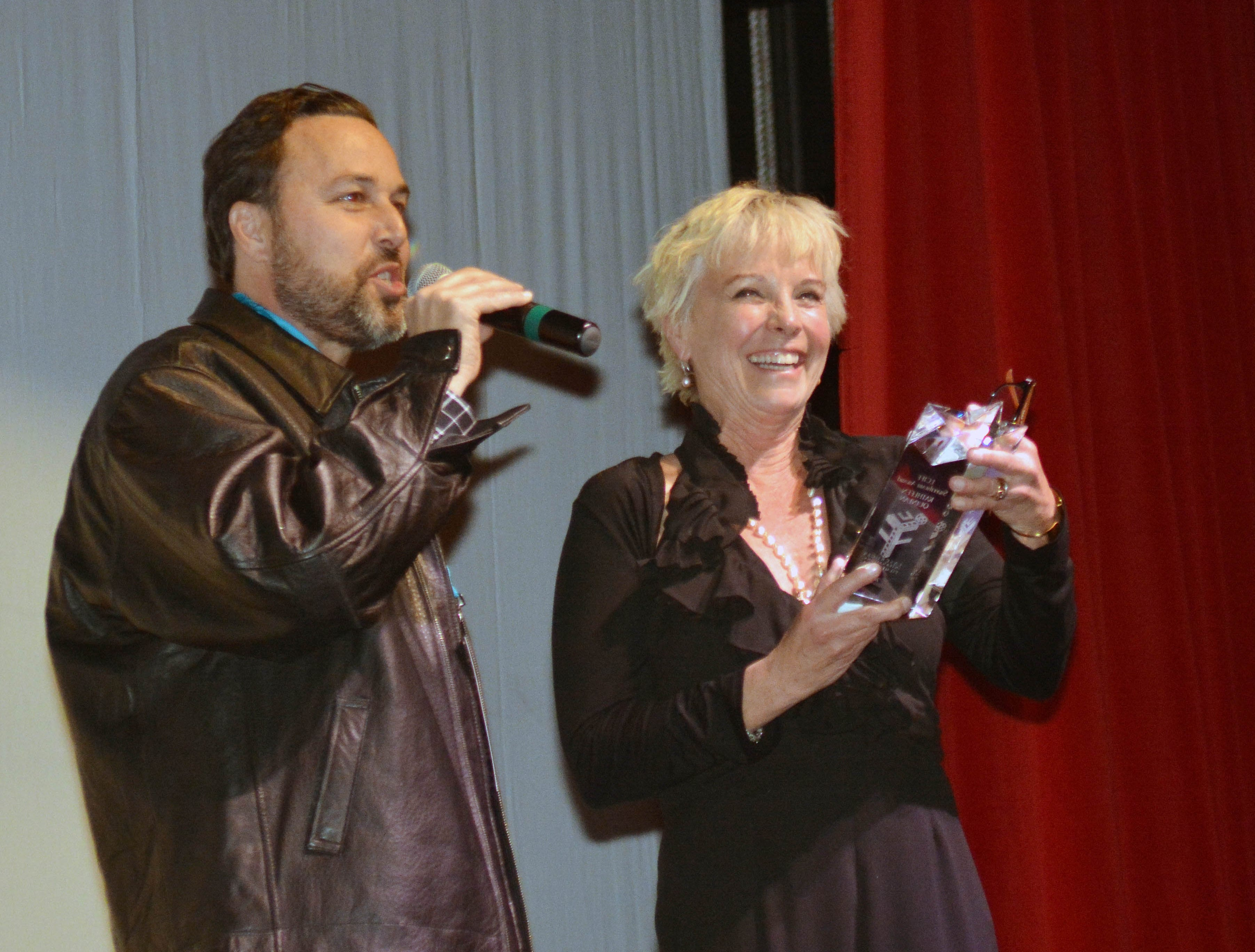 """""""The Sweetheart Award"""" was presented to Kathleen Quinlan as a surprise by LCIFF President Ross Marks as part of the Tuesday night's ceremonies at the Rio Grande Theater."""