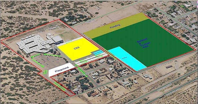A conceptual plan proposed by the school district, but not yet finalized, would construct Columbia Elementary School (seen in yellow) on a spot closer to Vista Middle School, while the present would be demolished to make way for athletic fields.