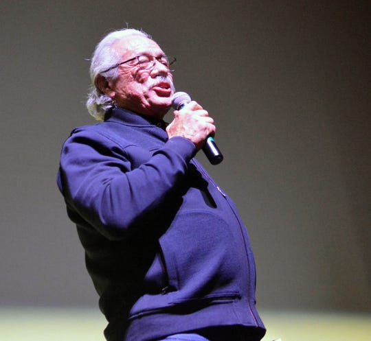 Edward James Olmos speaks to the sell-out crowd at the Rio Grande Theatre after receiving this year's Mark Medoff Humanitarian Award during the Las Cruces International Film Festival on Tuesday.