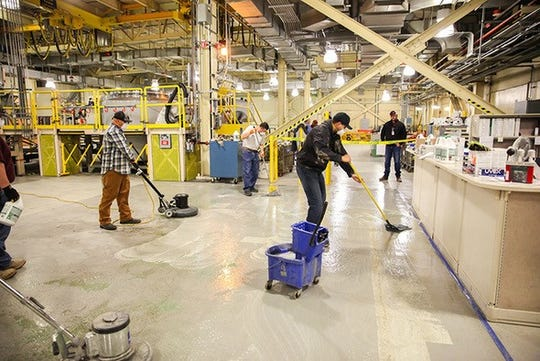 Workers refinished the floors and painted a waste  bay in the waste handling building at the Waste Isolation Pilot Plant.