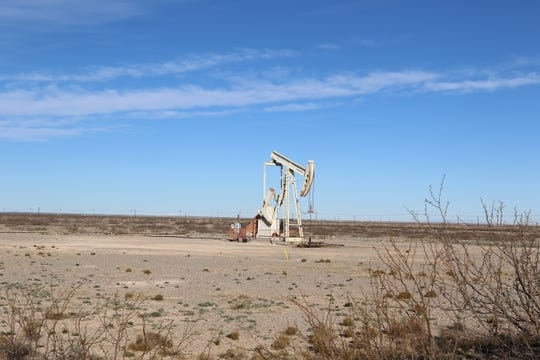 An idle pumpjack near Artesia.