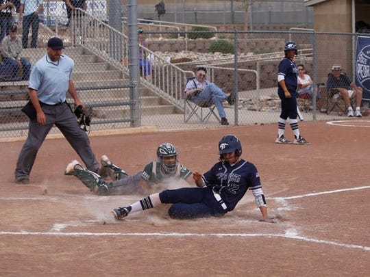 2018 Piedra Vista softball graduate Cheyenne Stark, seen here in a game against Rio Rancho on Saturday, April 28, 2018 at Farmington Sports Complex, was named North Texas Junior College Athletic Conference Position Player of the Week at Grayson College.