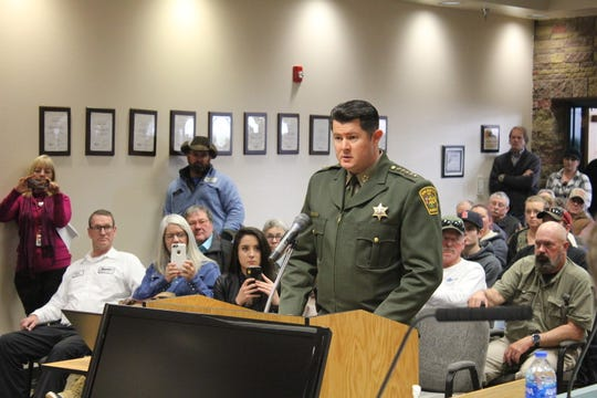 San Juan County Sheriff Shane Ferrari speaks about pending gun control legislation, Tuesday, Feb. 19, 2019, during a San Juan County Commission meeting in Aztec.