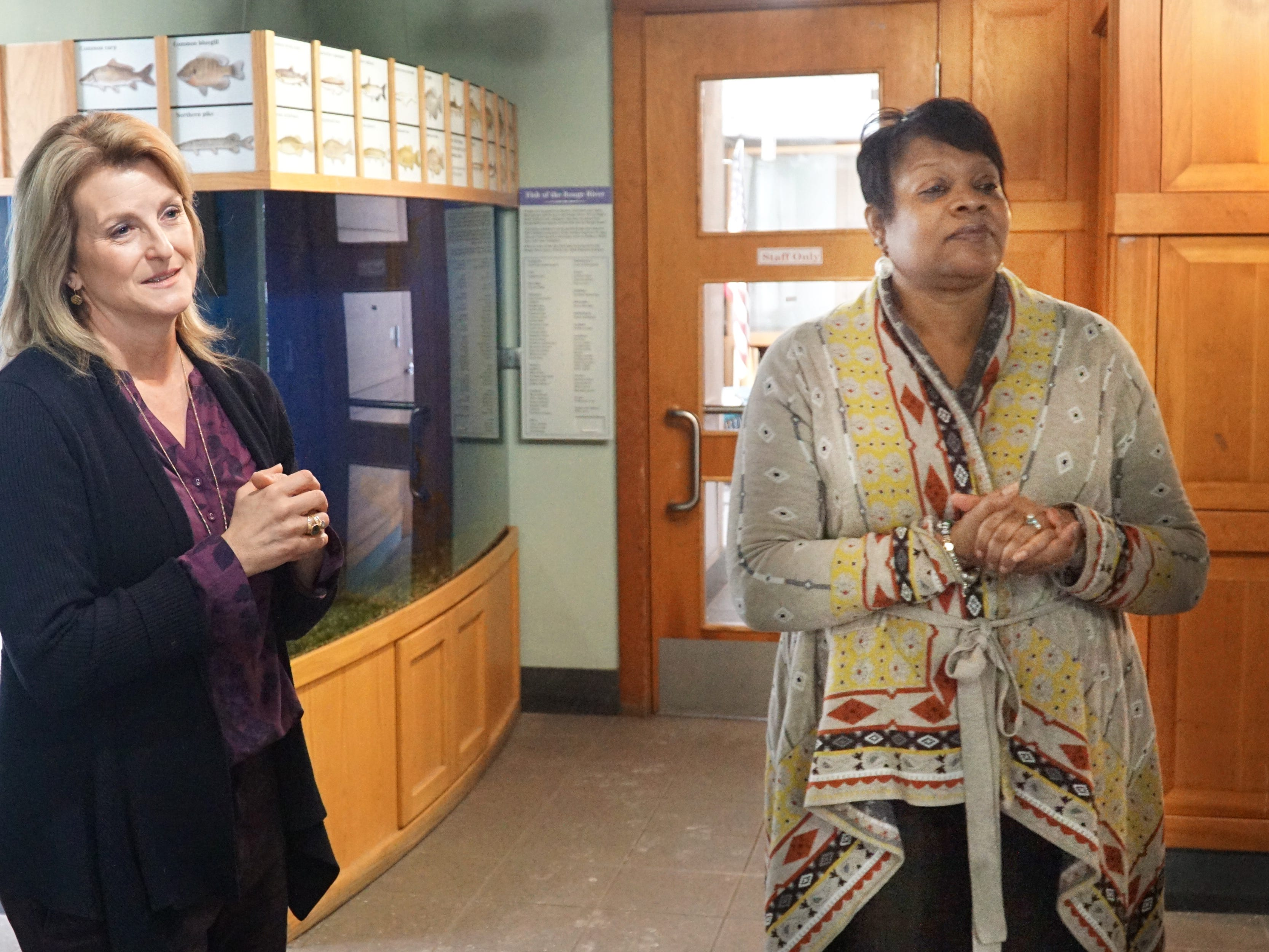 Elizabeth Iszler, left, and Alicia Bradford talk about some of the updates on their way for Wayne County's Nankin Mills Nature Center.