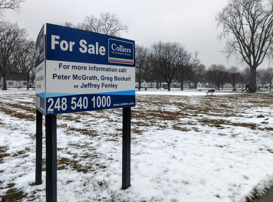 """A """"For Sale"""" sign on the south side of Jaycee Park in Wayne. The Wayne City Council approved moving forward with selling Jaycee Park and Kiwanis Park to a developer at its Feb. 19 meeting."""