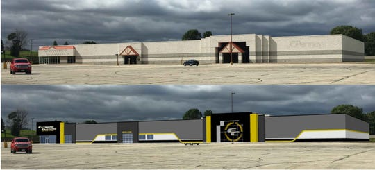 A composite image shows, above, the JCPenney building as it currently stands, and below, the design for potential occupant Extreme Customs as imagined by Adam Heindel of Vision Architecture. Extreme Customs makes custom tires, rims and other auto accessories and is outgrowing its Jackson Street location. Its offer to purchase the property is contingent on the Oshkosh Common Council creating a TIF district around Aviation Plaza.