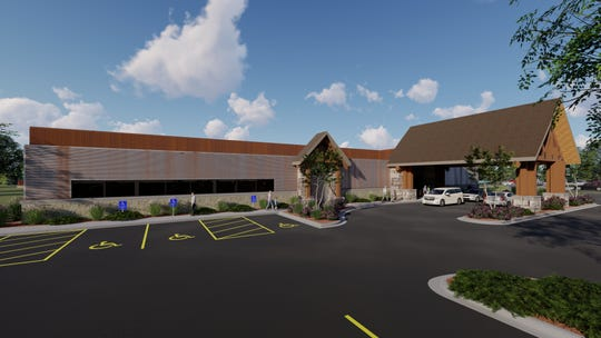 The exterior of a potential Mineshaft Restaurant in Oshksoh is seen in renderings by Keller, Inc. architects. The restaurant -- planned for the parcel that Walmart vacated in 2003 -- would be owner Tom Masters' second after a Hartford location.