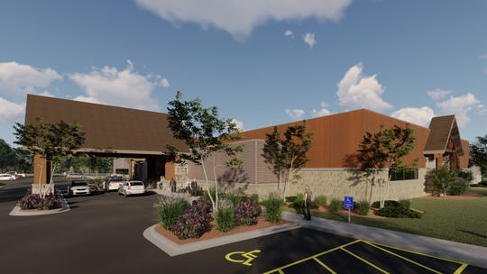An artist's rendering shows an alternate view of the front entrance to The Mineshaft Restaurant in Oshkosh. The Hartford-based restaurant is known for its family gaming and entertainment.