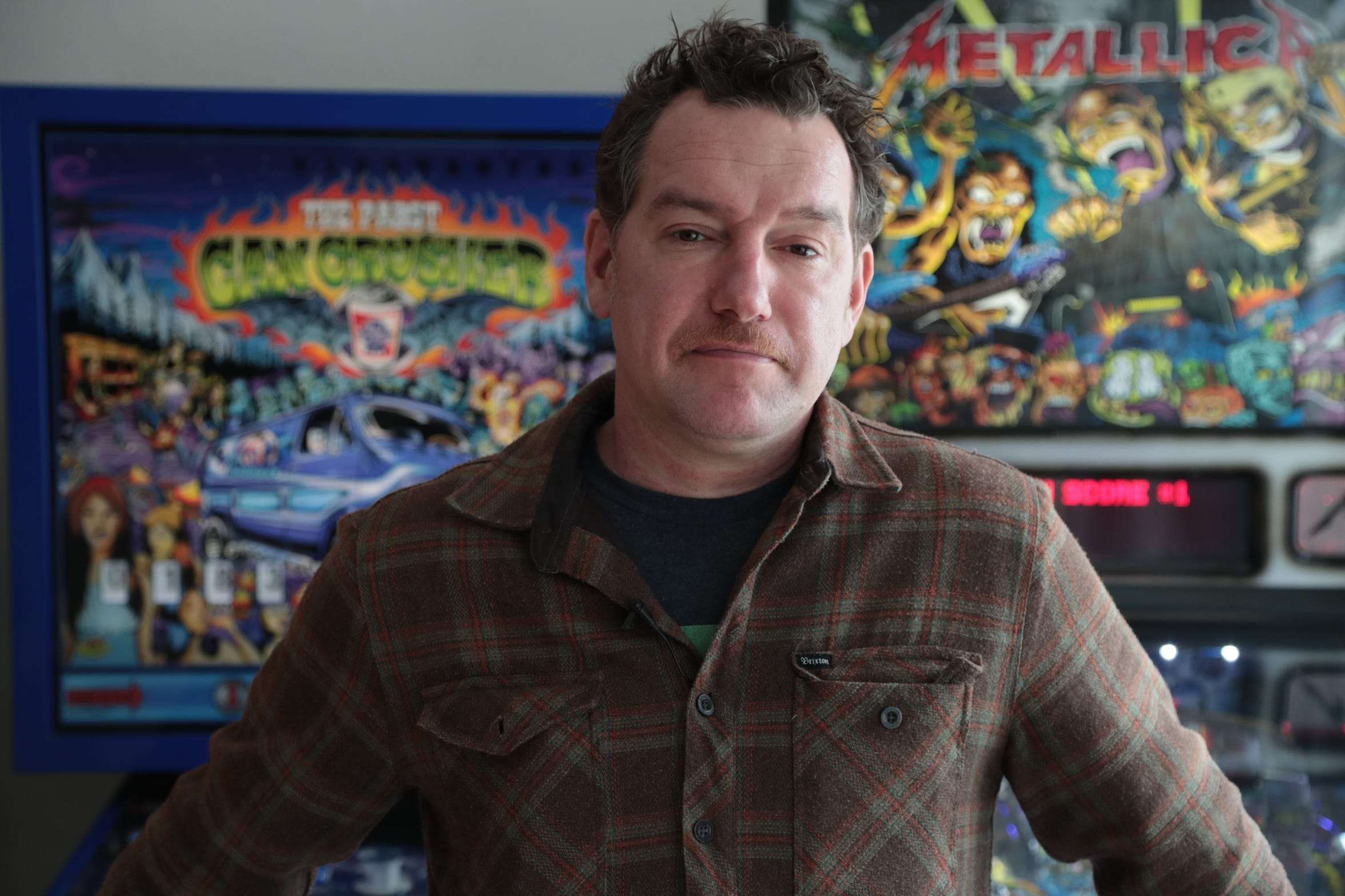 Artist Donny Gillies has become a leading artist of pinball game designs, Palm Desert, Calif., February 13, 2019.