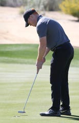02/19/19 Taya Gray, Special to the Desert SunUniversity of Stirling golfer Robert Foley putts on the14th green of the Greg Norman Course at PGA West during The Prestige tournament in La Quinta on Tuesday, February 19, 2019.