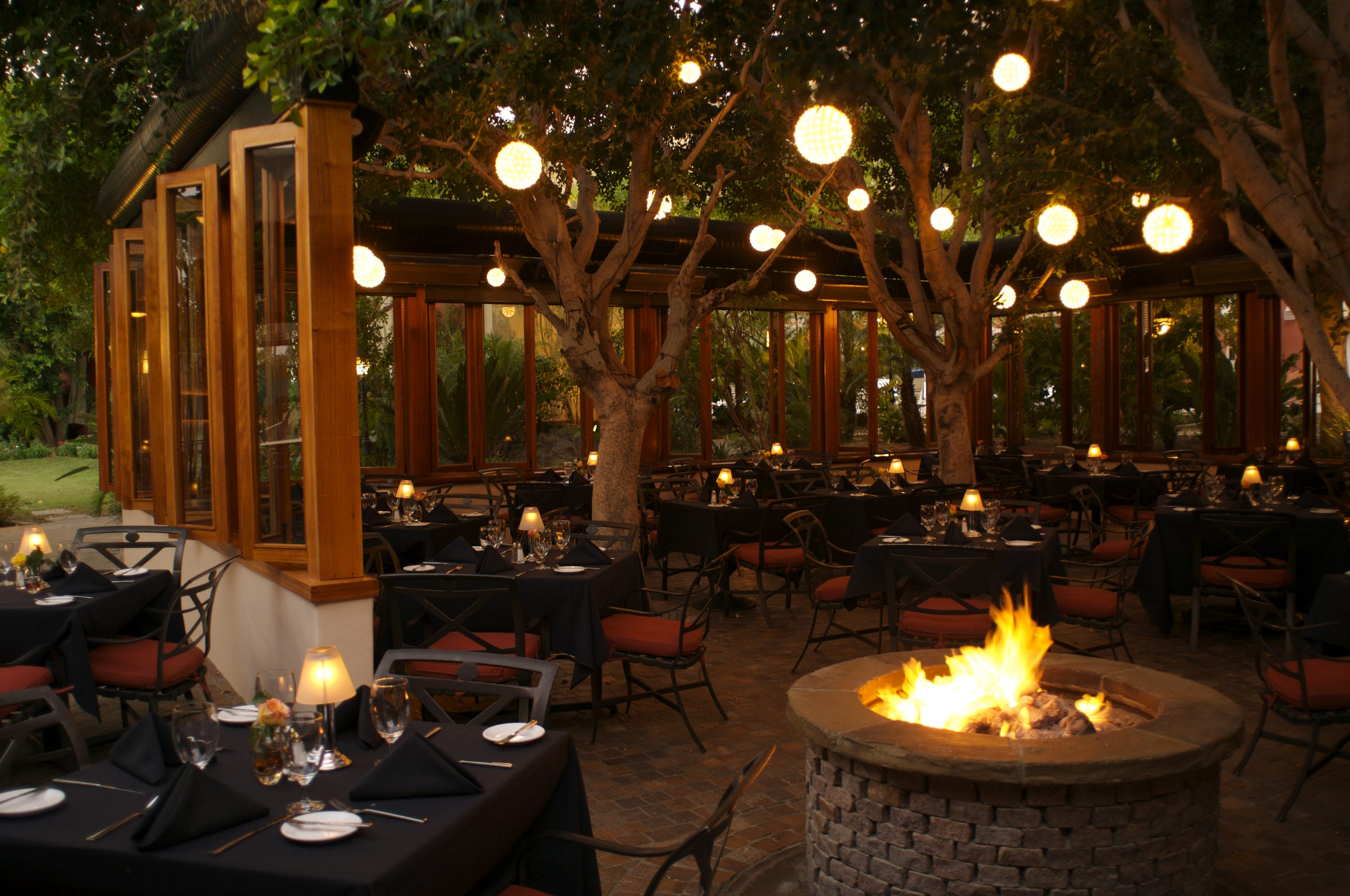The patio dining area at Spencer's Restaurant in downtown Palm Springs, owned and operated by Harold Matzner.