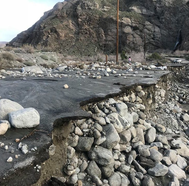 Whitewater Preserve closed until further notice after Thursday's storm damaged access road
