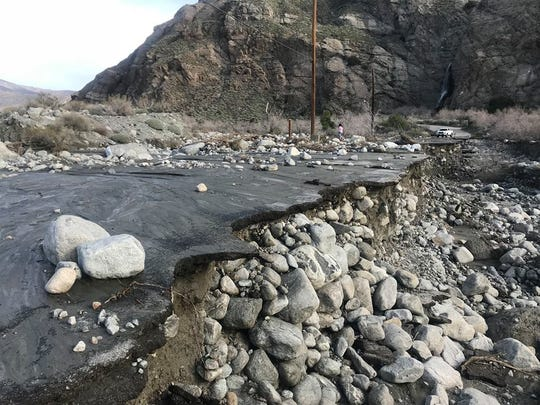 This photo shows Whitewater Canyon Road following last week's storm. Damage is preventing access to the Whitewater Preserve until further notice.