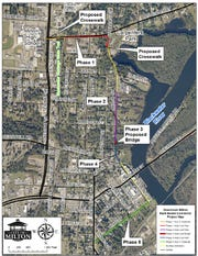 A map shows the proposed five phases of a multi-modal connector project slated for the heart of the city of Milton.
