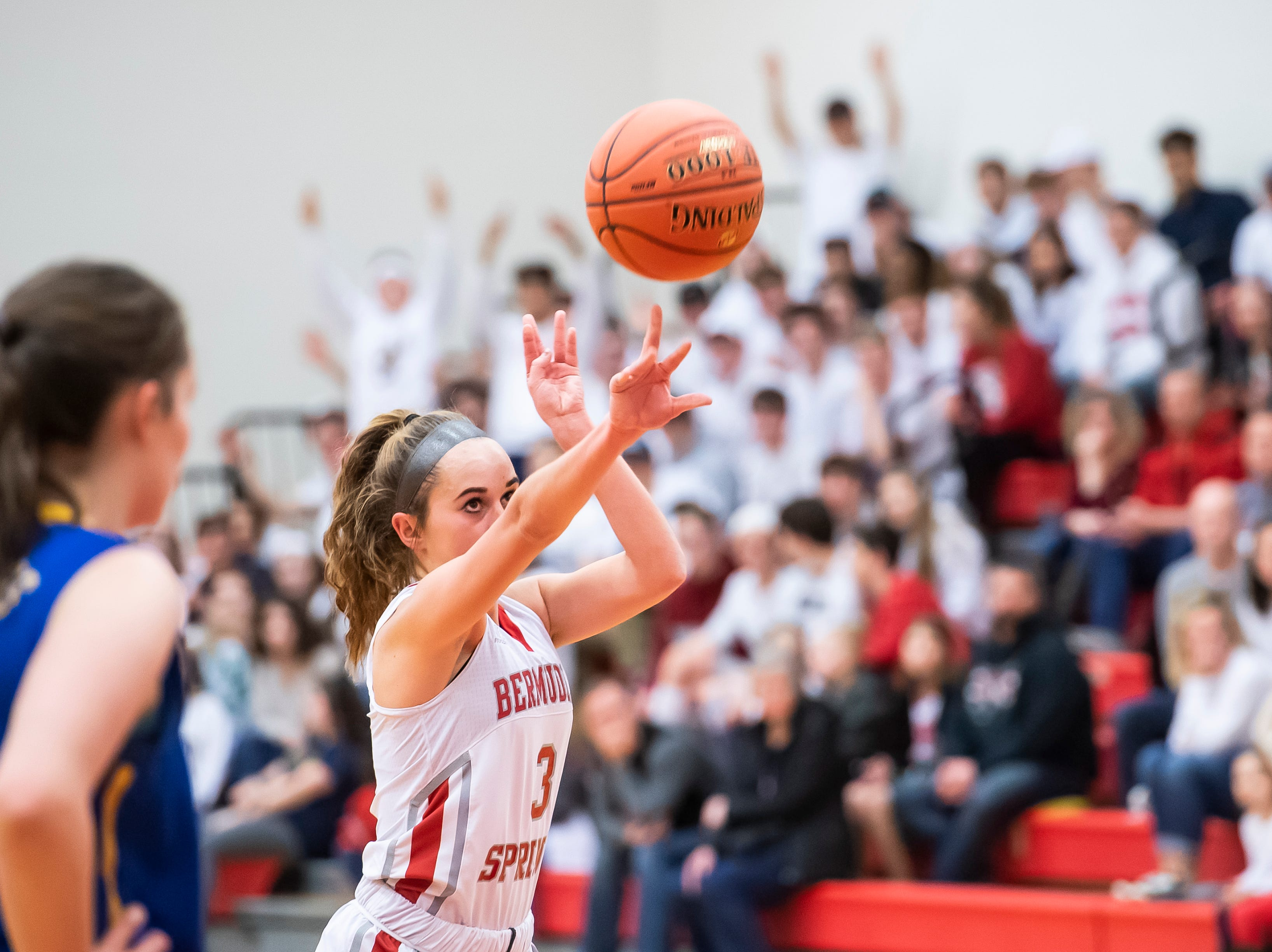 Bermudian Springs' Skyler West shoots and makes a free throw during play against Northern Lebanon in the first round of the District III 4-A playoffs Tuesday, February 19, 2019. The Eagles won 58-52.