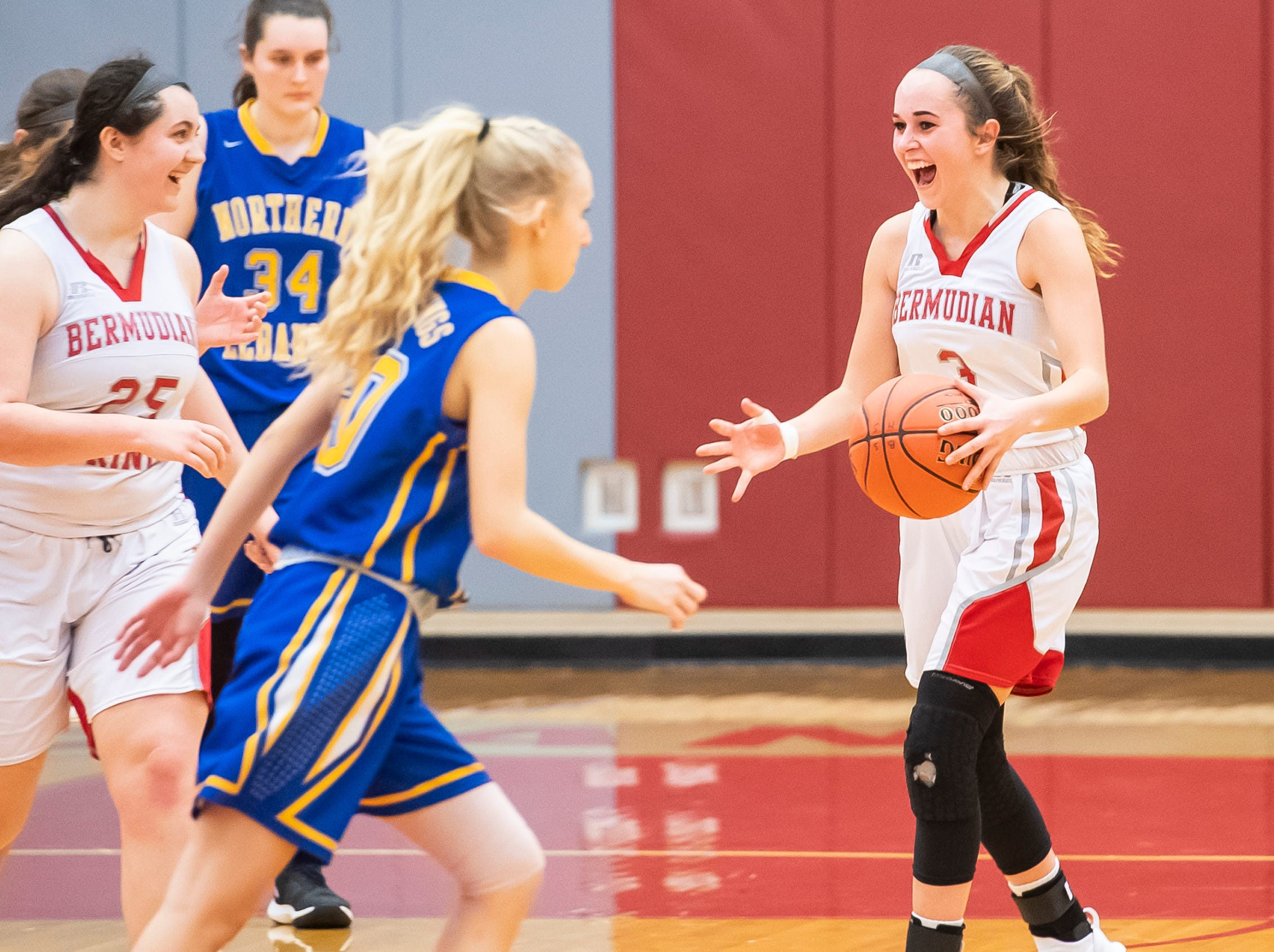 Bermudian Springs' Skyler West (3) and Emily Shearer (25) react after the Eagles defeated Northern Lebanon 58-52 in the first round of the District III 4-A playoffs Tuesday, February 19, 2019.