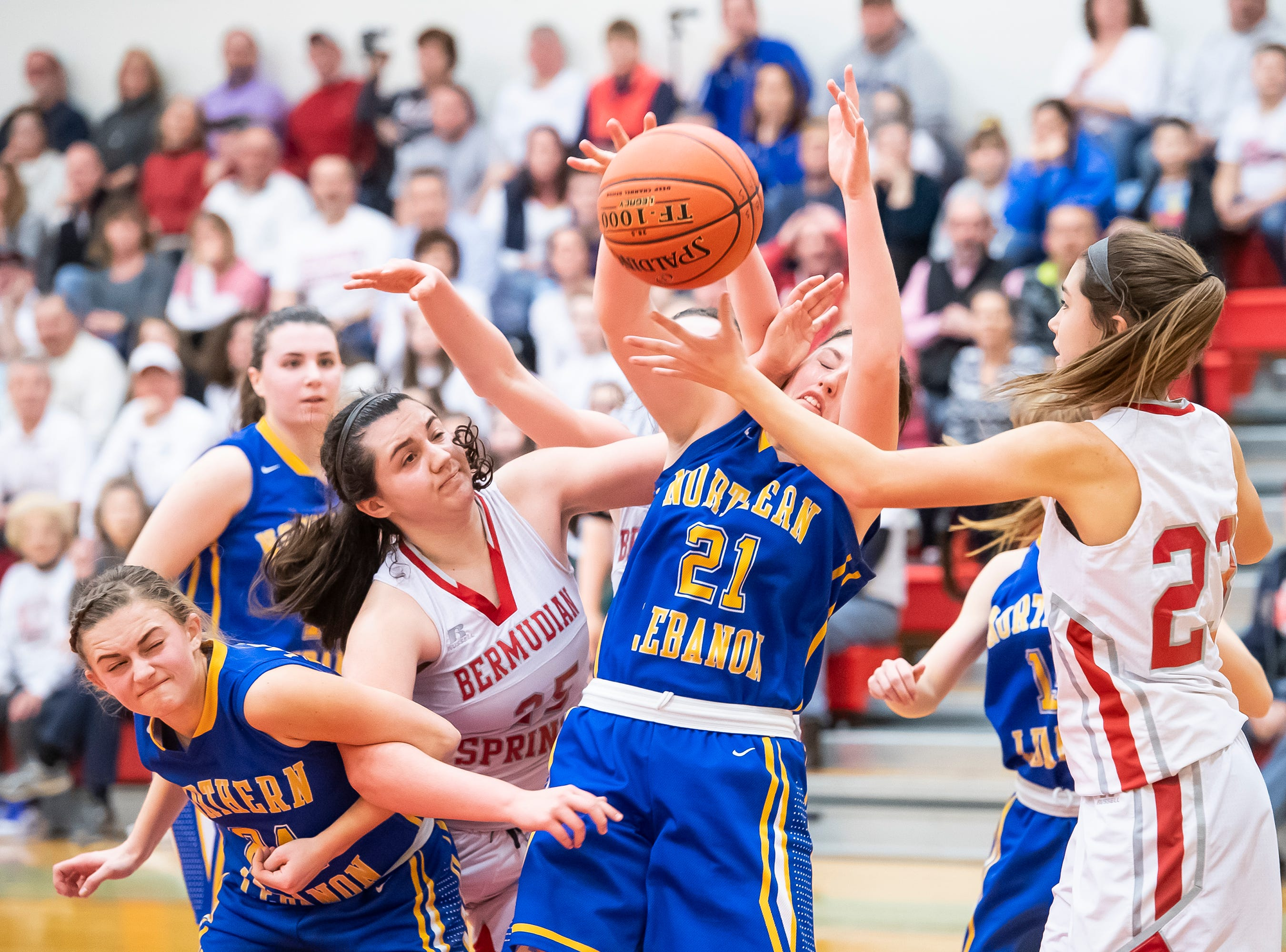 A host of Bermudian Springs and Northern Lebanon players try to pull down a rebound in the first round of the District III 4-A playoffs Tuesday, February 19, 2019. The Eagles won 58-52.