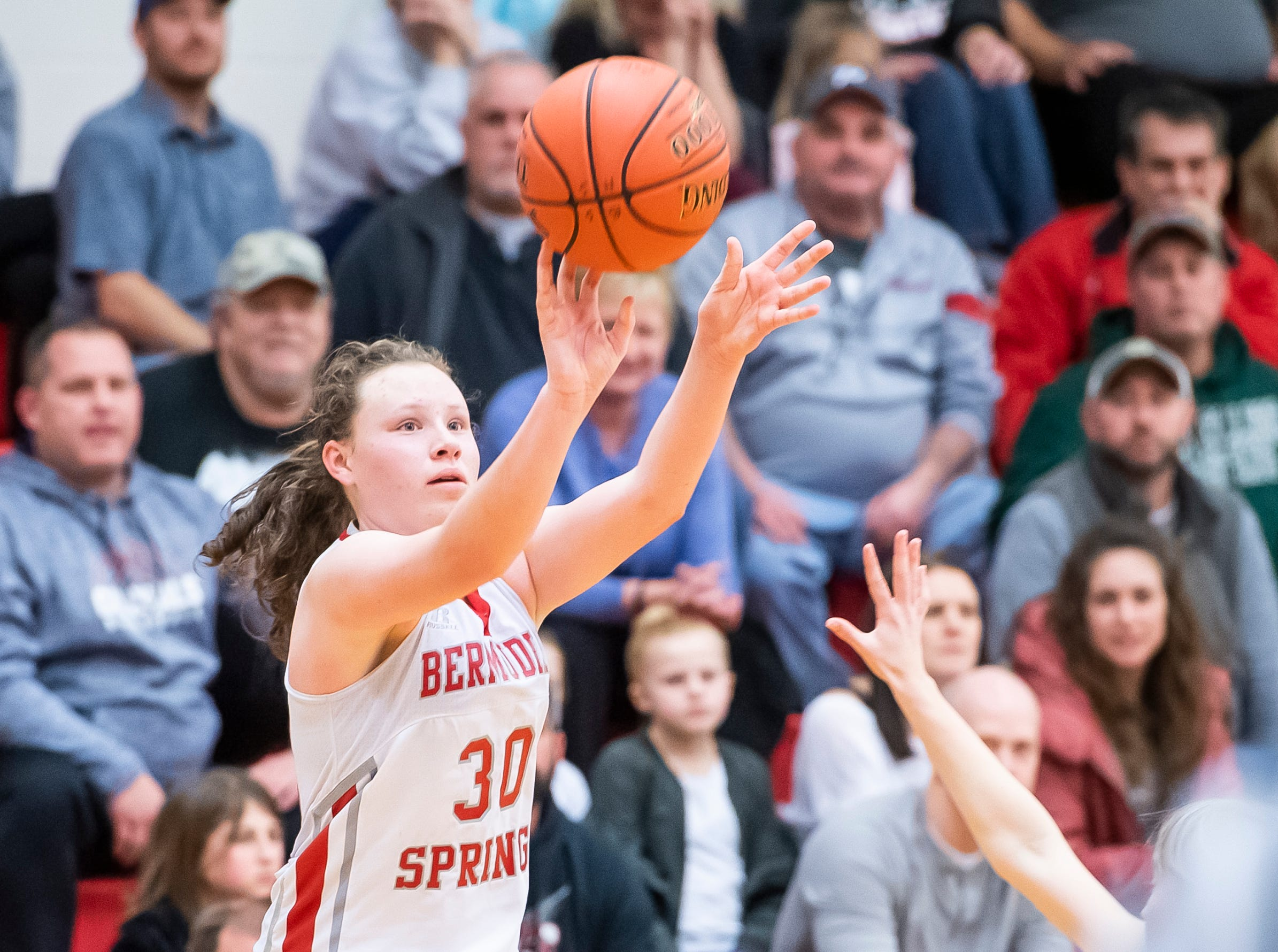 Bermudian Springs' Hannah Chenault shoots and scores a 3-pointer late in the fourth quarter against Northern Lebanon. Chenault, a freshman, scored a team-high 21 points, including five 3-pointers.