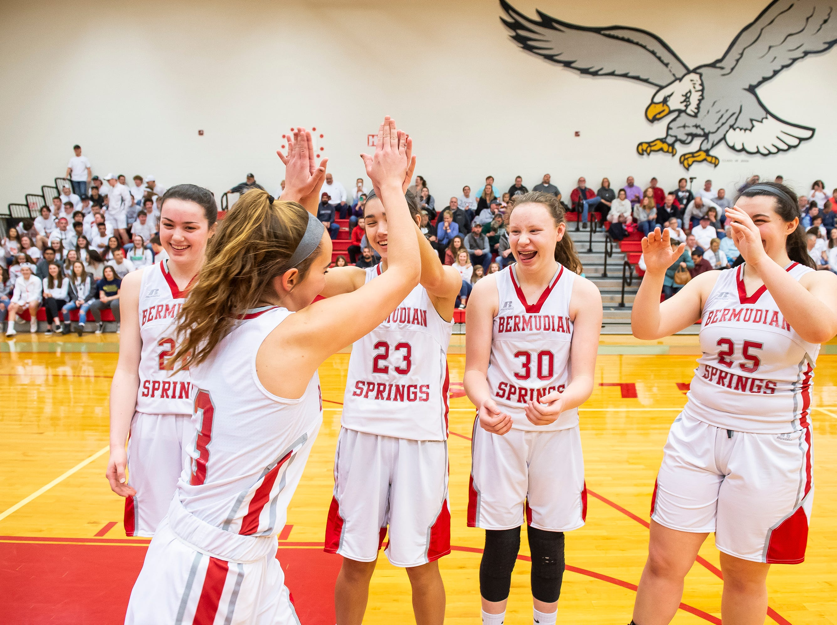 Bermudian Springs' Skyler West high-fives her teammates prior to a game against Northern Lebanon in the first round of the District III 4-A playoffs Tuesday, February 19, 2019. The Eagles won 58-52.