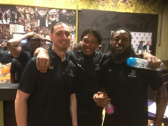 Arizona Rattlers quarterback Jeff Ziemba, defensive end Chris McAllister and quarterback Verlon Reed Jr.