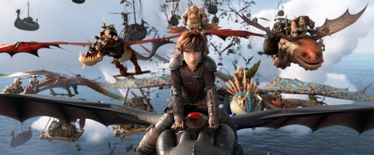 "Hiccup and Toothless lead the Dragon Riders in ""How To Train Your Dragon: The Hidden World."""