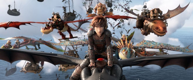 """Hiccup and Toothless lead the Dragon Riders in """"How To Train Your Dragon: The Hidden World."""""""