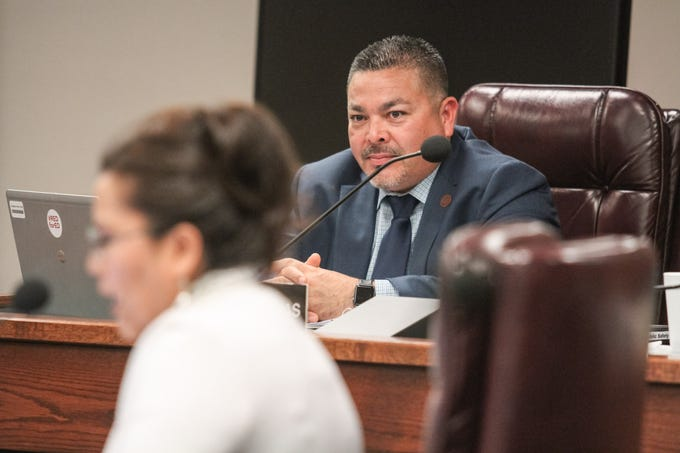 Sen. Lupe Contreras speaks at a Senate Transportation and Public Safety hearing at the Arizona State Capitol in Phoenix, Arizona on Wednesday, Feb. 20, 2019.