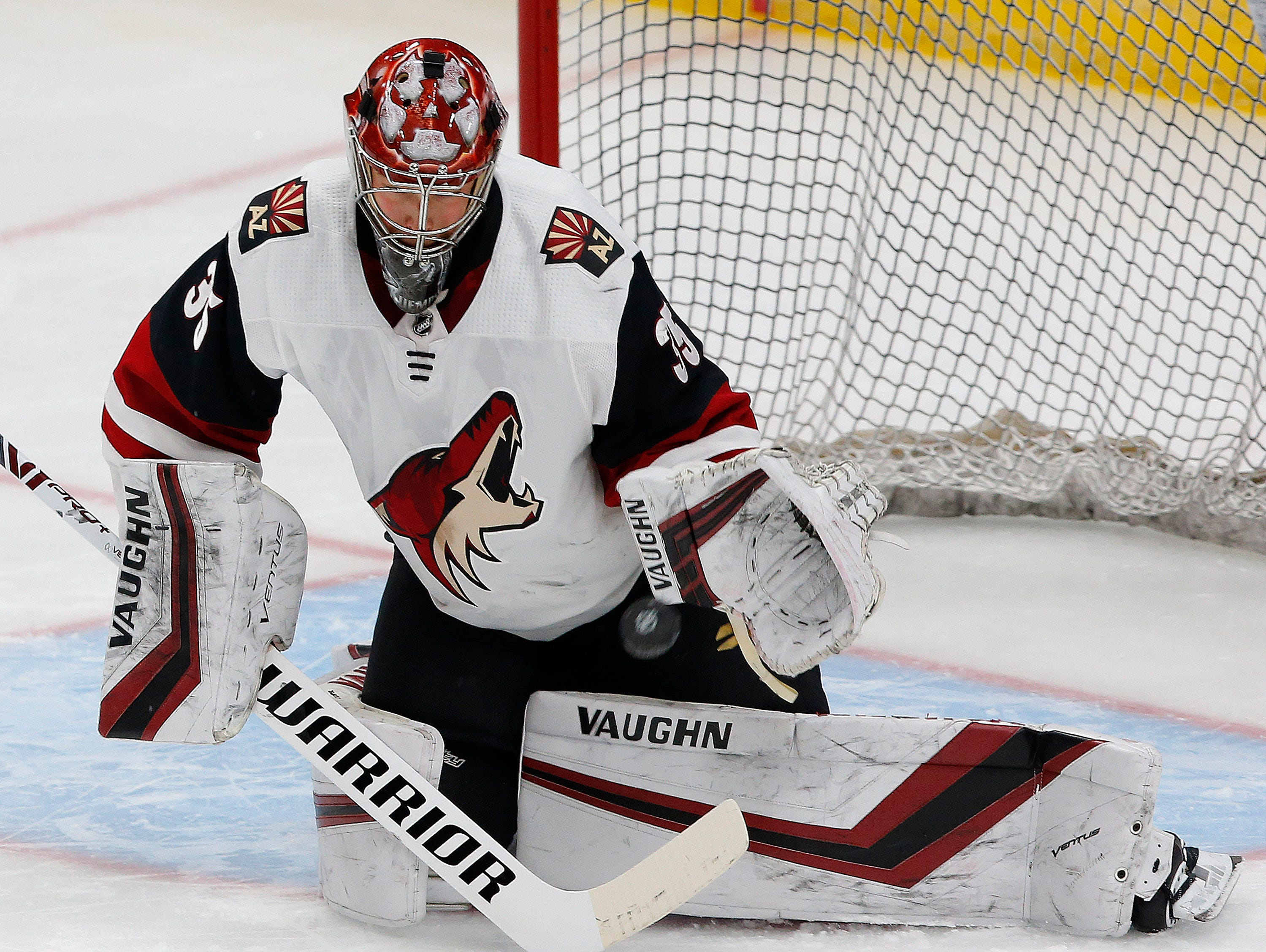 Feb 19, 2019; Edmonton, Alberta, CAN; Arizona Coyotes goaltender Darcy Kuemper (35) makes a save during warmup against Edmonton Oilers at Rogers Place. Mandatory Credit: Perry Nelson-USA TODAY Sports