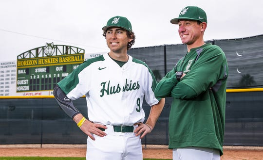 Horizon pitcher Collin Demas, left, missed his junior season because he was battling leukemia. Now, he's cancer free and ready to go.